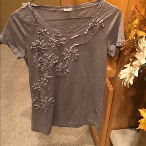 Jcrew grey tee with floral design - size xs